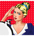 pop art of thinking woman vector image vector image