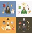 Religions Concept 4 Flat Icons Square vector image