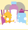 rubber duck toy dispenser liquid soap shampoo vector image vector image