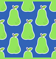seamless pattern with pears in green on blue vector image vector image