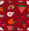 seamless pattern with red summer fruits background vector image vector image