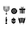 set happy hanukkah decoration to traditional vector image