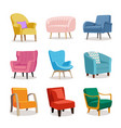 set modern colorful soft armchair vector image vector image