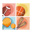 set of sports equipment vector image vector image