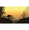 Silhouette of one spinosaurus in hills vector image vector image