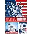 statue liberty usa flag nyc vector image vector image