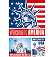 statue of liberty usa flag nyc vector image vector image