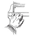 t-square holding position using fingers on blade vector image vector image