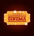 ticket cinema isolated icon vector image vector image