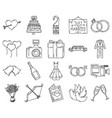 wedding icon set doddle hand drawn or black vector image