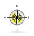 yellow compass icon vector image vector image