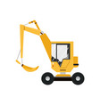 yellow excavator isolated on white background vector image vector image