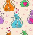 Seamless pattern with pair of lovers cats vector image