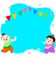 happy boy and girl splashing in songkran festival vector image
