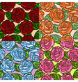 set of seamless background roses with green leaves vector image