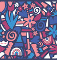 abstract flower collage seamless pattern vector image