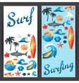 Banners with surfing design elements and objects vector image