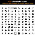 big set 100 universal black flat icons vector image vector image