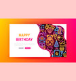 birthday neon landing page vector image