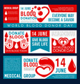 blood donation or donor day banners vector image