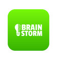 brain storm icon green vector image vector image