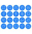 bubbles flat line icons set soap foam fizzy vector image