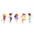 bundle dancing young pretty girls modern flat vector image vector image