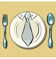 Business lunch dish fork and spoon vector image vector image