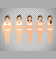 cartoon woman before and after diet vector image vector image