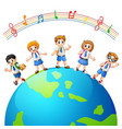 children in over the earth vector image vector image