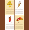 chips and ice-cream posters vector image