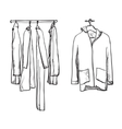 Clothes for autumn Coat and jacket on the hangers vector image vector image