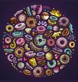 colorful hand drawn set of donuts cartoon vector image vector image