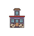 colorful silhouette of facade small house with vector image vector image
