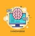 computer screen and brain vector image vector image