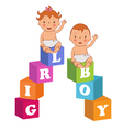 cute baby boy and baby girl with children bricks vector image vector image