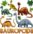 Different color of sauropods vector image vector image
