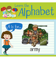 Flashcard letter A is for army vector image vector image