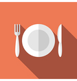 Flat plate fork knife vector image vector image
