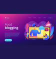 food blogging concept landing page vector image vector image