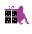 gift box with beauty girl vector image vector image