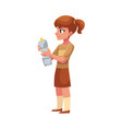 girl holding plastic bottle waste garbage vector image vector image