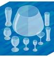 Glassware isometric flat icons set vector image vector image