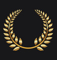 golden laurel wreath on black background vector image