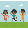group of joyful african-american people jumping vector image vector image