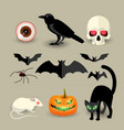 halloween isolated decorative icons set vector image
