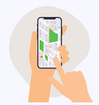 hand holding mobile smart phone with gps app map vector image vector image