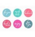 handmade lettering sticker set vector image