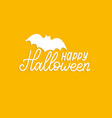 happy halloween lettering with bat vector image vector image