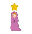 isolated virgin mary cartoon character christmas vector image vector image